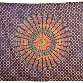 Colors Of India Ethnic Indian Hand craft Wall decor mandala design tapestry New last collection Indian Mandala Round Round Beach Throw Tapestry Hippy Boho Gypsy Cotton Tablecloth Beach Towel, TP4051