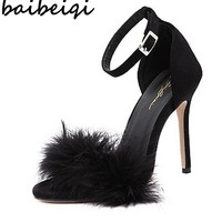baibeiqi Burgundy Women High Heel Stiletto Spring Autumn Real Fur Feather Hairy Sandals Pumps Bridesmaid Bridal Wedding Shoes