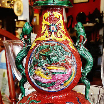 Qianlong Double Chilong Handled Bottle with Mystical Chinese Symbols 1800-1850