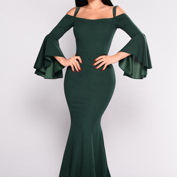 Fascination Off Shoulder Dress - Hunter Green