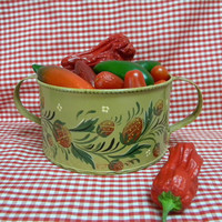 Tole painting handled bowl or planter strawberry design signed tinware