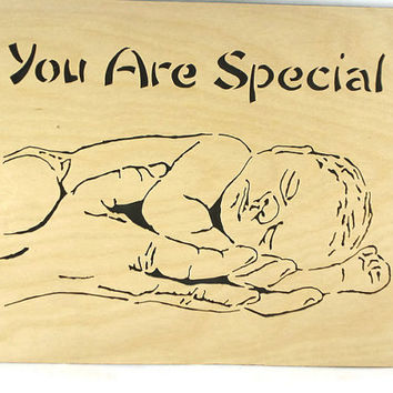 You Are Special Baby In Mothers Or Fathers Hands Wall Hanging Wood Art Handmade From Birch