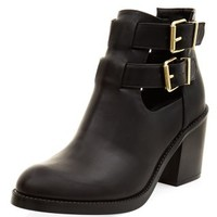 Black Chunky Cut Out Shoe Boots