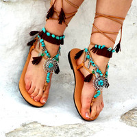 Native America leather Sandals, hippie shoes, Gladiator Sandal, barefoot, Genuine leather shoes, festival sandal