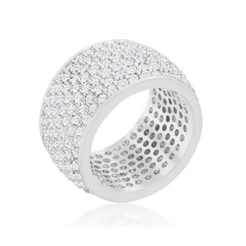 [R]-Wide Pave Cubic Zirconia Silvertone Band Ring