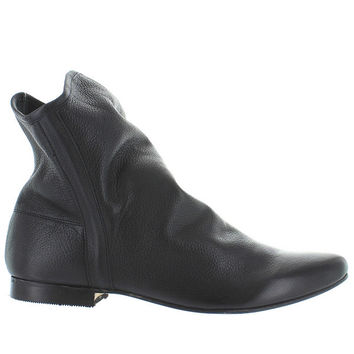 Coconuts Talulah - Black Leather Pull-On Slouchy Flat Bootie
