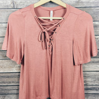 Brooklyn Lace Up Top (Dusty Pink)