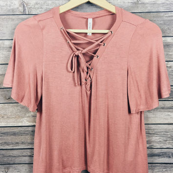 076419fd4f4651 Brooklyn Lace Up Top (Dusty Pink) from Shop Devi | Tops