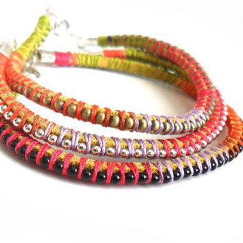 Friendship Bracelets Leather ball chain braid stackable - trendy Metallic fashion Neon summer 2012 for her under 25 set of three