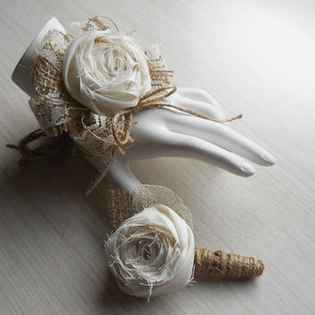 Rustic Shabby Chic Wrist Corsage and/or Boutonniere, Cotton Rolled Roses, Burlap, Lace, Rustic Shabby Chic Style Weddings. Made to Order.