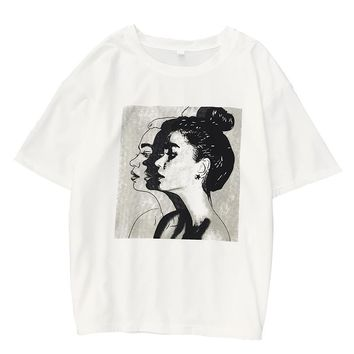 2018 Summer New Short-sleeved Cotton T shirt Women Harajuku Character Printed Loose Top Female T-shirt Casual M-XXL Funny Tee
