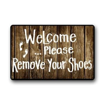 Autumn Fall welcome door mat doormat Shirley's s Custom Funny Words Take Your Shoes off Please Indoor/Outdoor  Indoor/Outdoors x Decor Mat Rugs AT_76_7