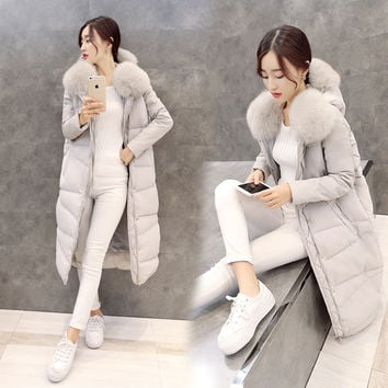 Winter Jacket Women 2015 New Women's Big Fox Fur Coat Thick Down Long Slim Casual Female Knee Down Cotton Down Parka Coats femme