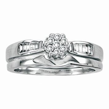 14kt White Gold Womens Round Diamond Flower Cluster Bridal Wedding Engagement Ring Band Set 1/4 Cttw
