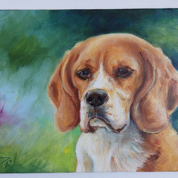 BEAGLE, DOG PORTRAIT, Miniature oil painting on canvas, Original Art, Hand painted, Pet portrait, Framed, 9 x 7 inches