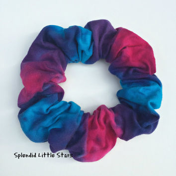 Cotton Scrunchie, hand dyed, tie dye scrunchie, ponytail, turquoise, fushia pink, purple, soft for hair