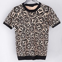 Fendi Fashion New More Letter Print Leisure Women Men Top