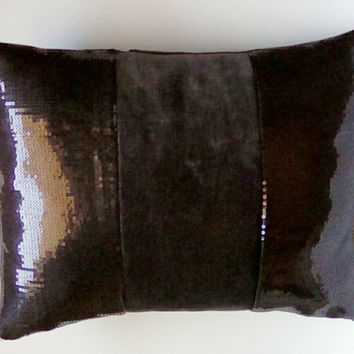 Shiny Black Baby Sequins and Black Chenille Luxury Lumbar Pillow Cover