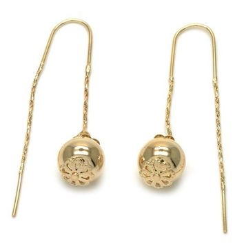 Gold Layered 02.32.0536 Threader Earring, Ball Design, Polished Finish, Golden Tone