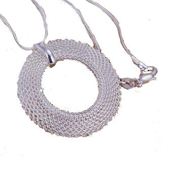 Women's Simple Mesh Circle Necklace