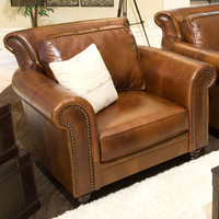 Paladia Top Grain Leather Accent Chair Rustic