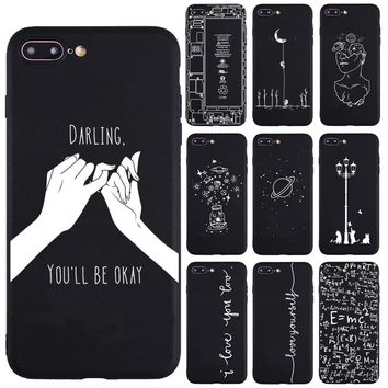 Lover Darling Equation Print Phone Cases For iphone 7 8 Plus X 5S SE Case For iphone 6 Plus XR XS Max Frosted Soft Back Cover