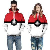 Men Women Unisex Red White pokemon go 3D Hoodies couple lover matching outfits long sleeve Sweatshirts for Autumn Spring