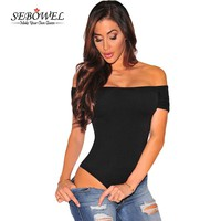 SEBOWEL Sexy Women Off Shoulder Bodysuit Solid Rompers Overalls Slash Neck Mini Body Playsuit Bodycon Jumpsuit Brief Bodysuit