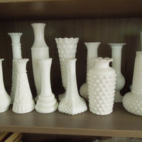 Wedding decor - Vintage milk glass vases (Lot of 12) - Cottage chic - Country wedding - Restaurant decor