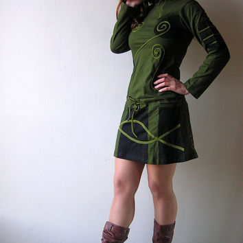 Green Chinese Mini Dress - Cotton - Psy - Long Sleeve Mini Dress - Tunique - Trance - Rave - Forest