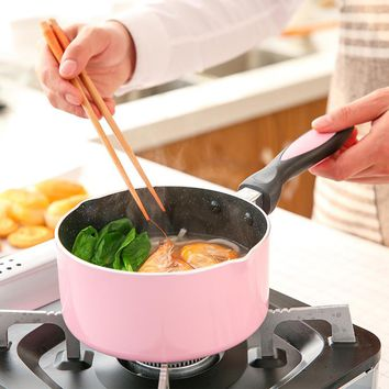 Keelorn 16cm Lightweight Milk Pot is Not Stick Pots Soup&Stock Pots General Use For Gas and Induction Cooker Pans