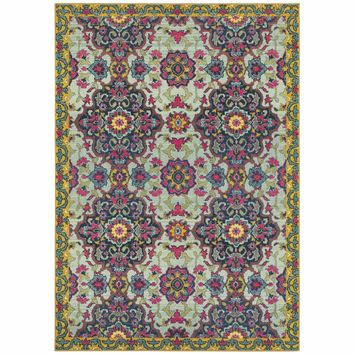 Bohemian Blue Yellow Border Medallion Casual Rug