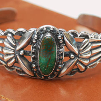 Green Turquoise Cuff Bracelet -  Silver Navajo style  - Southwestern  -Native American -  Old Pawn Etch tribal  - arrows Birds