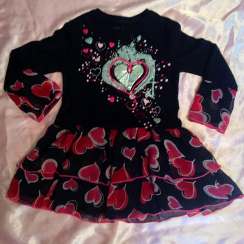 Upcycle valentines day heart gift sweetheart toddler dress size 3t black pink red glitter sparkle high fashion layered twirly full