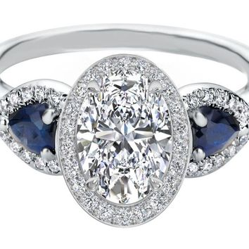 Engagement Ring - Oval Diamond Halo Engagement Ring Pear Shape Blue Sapphire Side Stones in 14K White Gold - ES1198OV