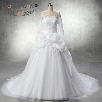 Rose Moda Long Lace Sleeves Wedding Ball Gown Chantilly Lace Appliqued Sheer O Neck Wedding Dress with Keyhole Back Real Photo