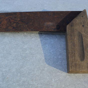 Antique Carpenter Square Measuring Tool Rusty Patina Wood Handle Early 1900s Builders Tool Rustic Farm House Decor Tool Shed Rusted Style