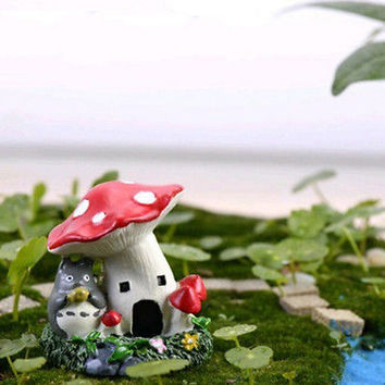 Cartoon Mushroom House Micro Landscape Decor Fairy Garden Mini Home Ornaments HU