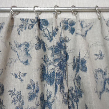 "Window Valance Natural Linen valance 54"" x 20"". Gray Window valance rustic style.  Cafe style curtain angels print"