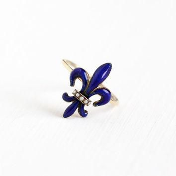Antique 14k Rose Gold Blue Enamel Fleur De Lis Ring - Vintage Victorian Edwardian Seed