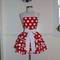 Red and White Polka Dots 3 Tier Circle Skirt Apron