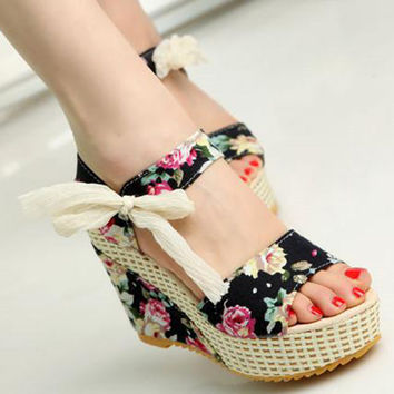 Floral Wedge Sandals & Buckle high-heeled Shoes