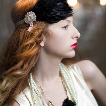 Great Gatsby Headpiece, 1920s Flapper Headband, Downton Abbey Wedding Hair Accessories, 1930s, Silver Pearl Beaded Black Feather Headband