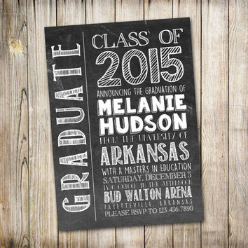 Graduation Announcement, College Graduation Announcement, High School Graduation, Chalkboard, Printable