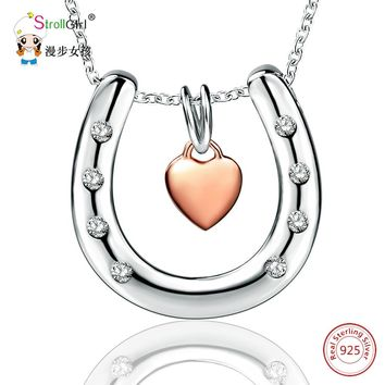 925 Sterling Silver Chain Pendant Necklace Fashion Jewelry Horseshoe Rose Gold Color Heart Necklaces & Pendants For Women 2018