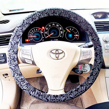 Black and Gray Damask Steering Wheel Cover