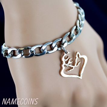 Buck and Doe Heart Bracelet, Deer Heart Jewelry, Cut coin