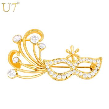 U7 Sexy Mask Brooch Pin Banquet Accessories Women Party Jewelry Gold/Silver Color Rhinestone Brooches Christmas Gift B140
