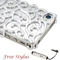 Amazon.com: Luxury Silver Chrome Electroplating Hollow Pattern PC Hard Back Case Cover: Cell Phones & Accessories
