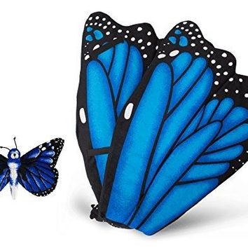 Wildlife Tree Plush Wings With Baby Plush Toy Bundle For Pretend Play Animals Dressup (Blue Morpho Butterfly)